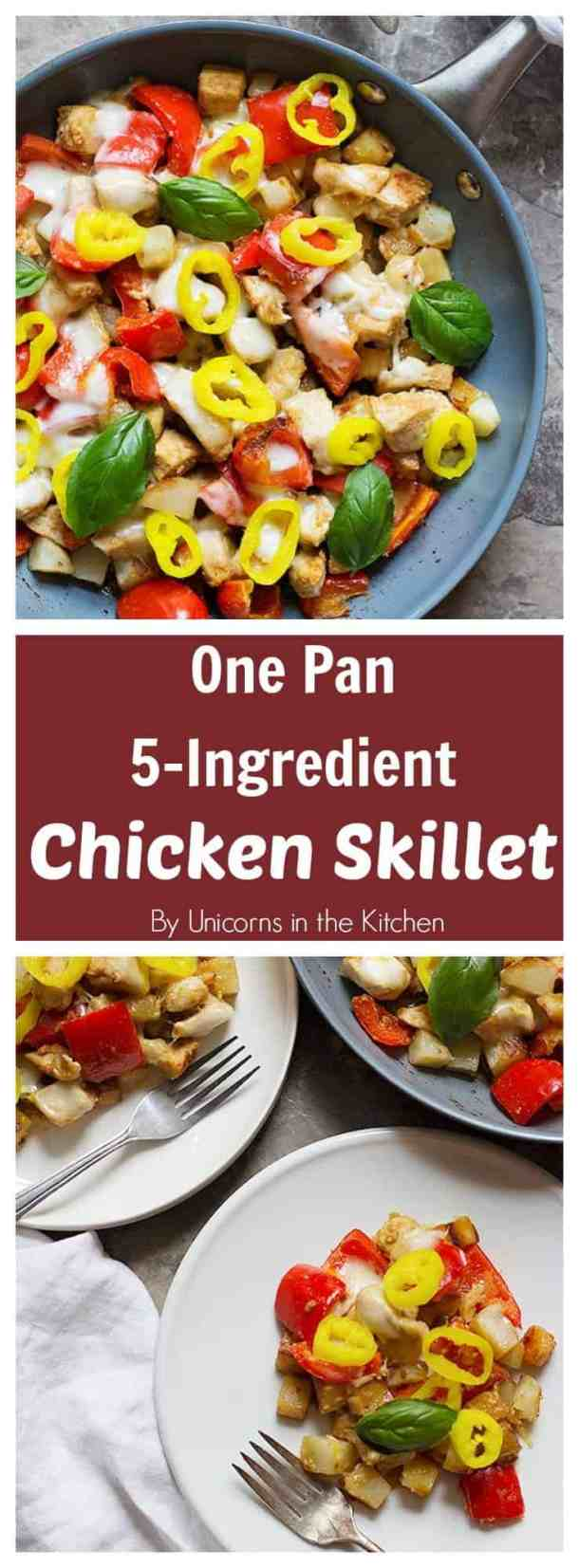This one pan 5-ingredient chicken skillet is perfect for weeknight dinners as it comes together in 30 minutes. The final addition of pepper rings gives a bold flavor to the dish!#chickenrecipes #easyrecipes #quickrecipes