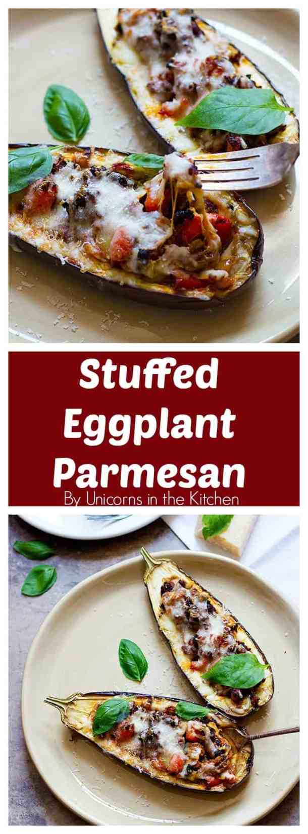 Stuffed Eggplant Parmesan is a great choice for dinner. Meaty eggplants that are filled with ground beef and topped with two types of cheese, who can say no to this?