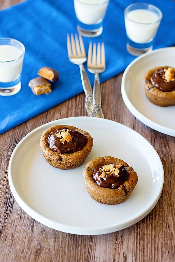 Fill chocolate chip cookie cups with homemade chocolate pudding.