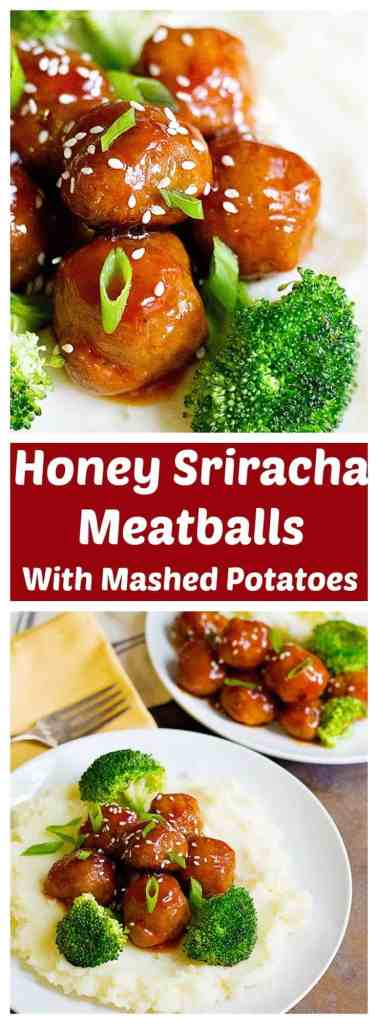 These Honey Sriracha Meatballs are quick and easy to make. The sweet and hot flavors match so well with the creamy and buttery mashed potatoes, which makes it perfect for a weeknight dinner!