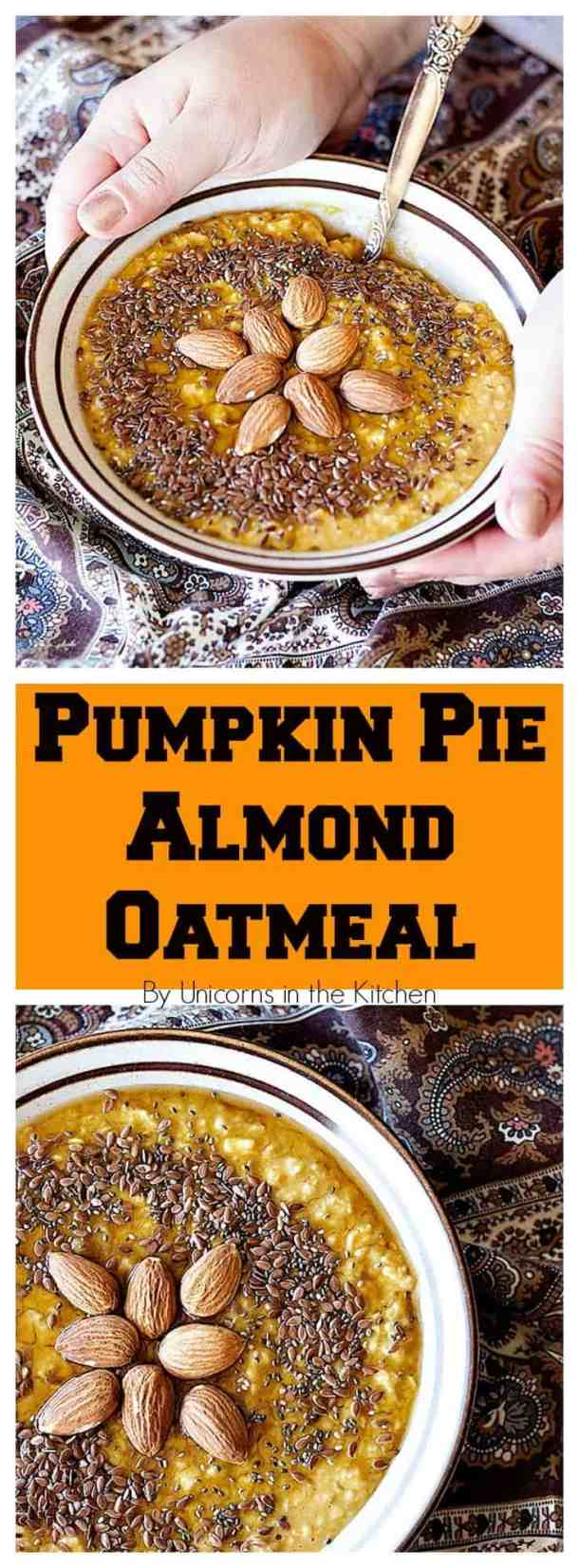 Celebrate fall with this Pumpkin Spice Oatmeal that is easy and healthy. You can make it on the stove or in the microwave! From UnicornsintheKitchen.com