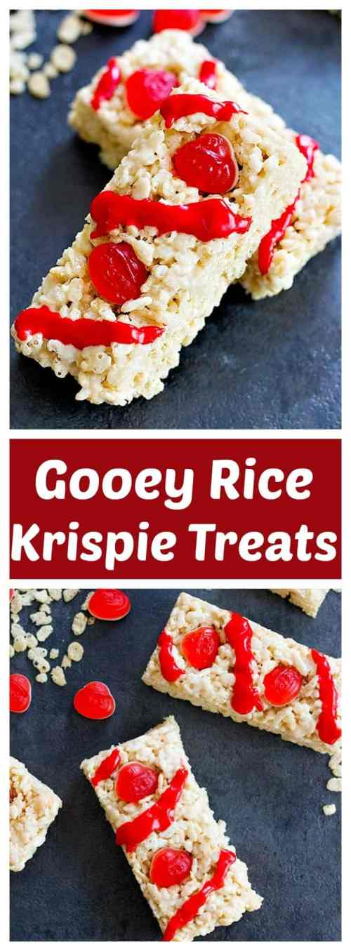 Turn a loved old classic into something exciting! These Gooey Rice Krispie Treats are soft and delicious - and the gummies on top give them an extra layer of flavor and texture.