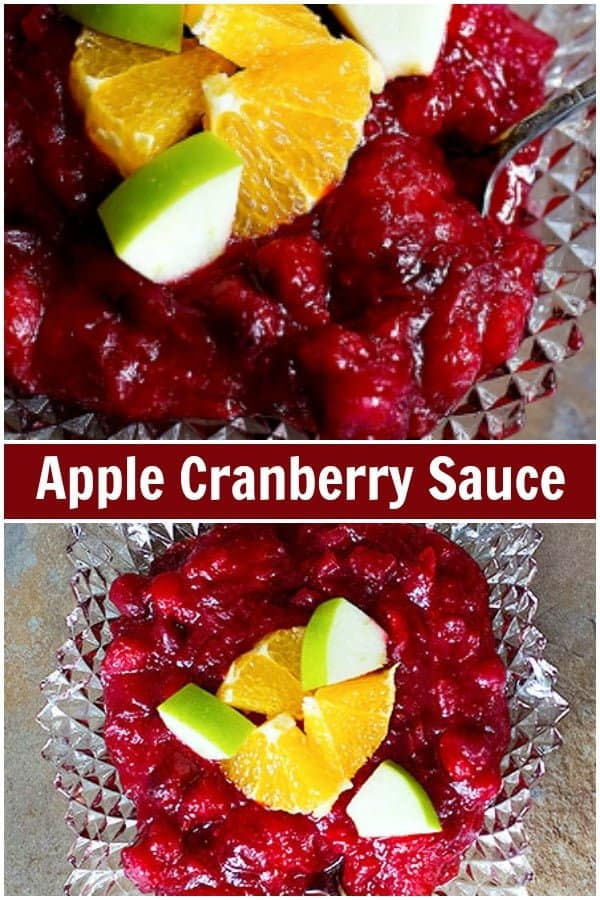 Forget about store-bought cranberry sauce. This homemade apple cranberry sauce will be a new family tradition for you! This cranberry sauce with apples is tangy, sweet, and unbelievably easy!  #cranberrysauce #Thanksgiving #cranberryapplesauce #Applecranberrysauce