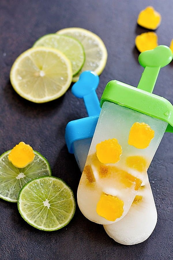 Lemon Lime Popsicles are refreshing and taste like lemonade in a form of a popsicle! Add some gummies to make them even tastier and more fun!