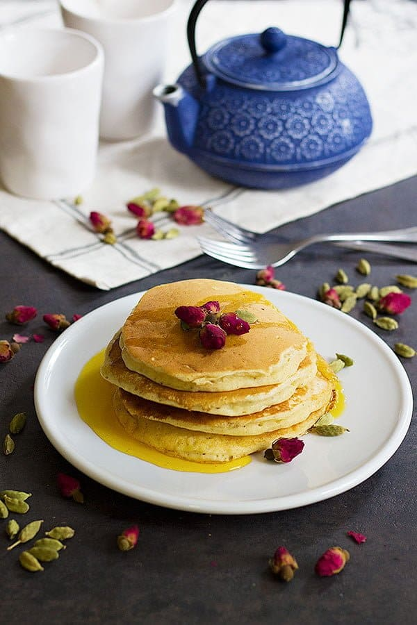 A classic American recipe with a Persian twist, these rosewater cardamom pancakes with saffron syrup are the love between east and west. The fluffy pancakes with rose and cardamom aroma kissed by saffron syrup, a dream come true!