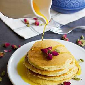Rosewater Cardamom Pancakes + Saffron Syrup