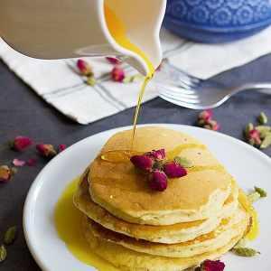 Rosewater Cardamom Pancakes + Saffron Syrup