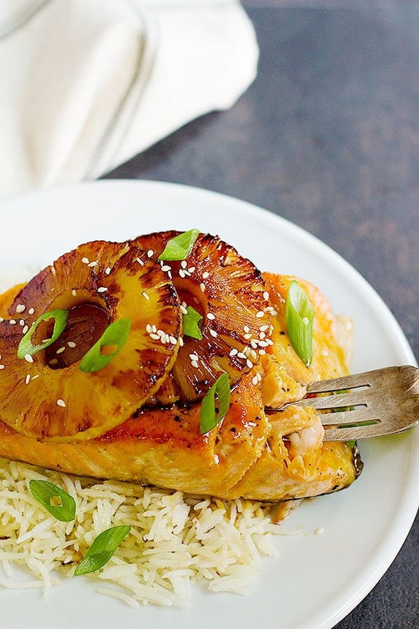 flaky fish topped with seared pineapple and flavored with teriyaki sauce.