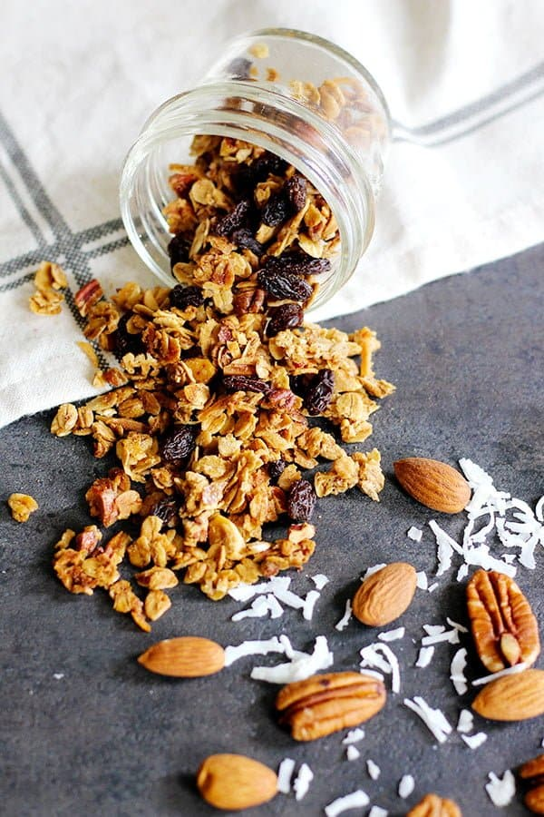 Make mornings a blast with this delicious homemade Coconut Almond Granola. It's a perfect addition to your smoothie or yogurt bowl, or as a simple snack!