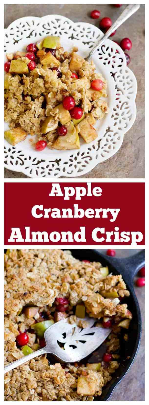 Apple Cranberry Almond Crisp is great for chill evenings. Tart apples and juicy cranberries bring together the perfect texture and flavor. This dish gets better with every bite!