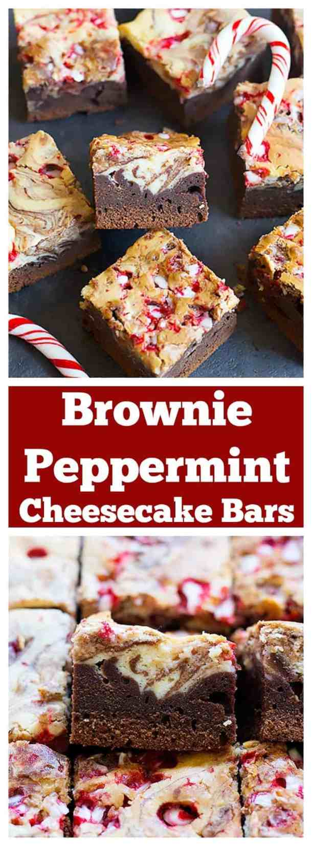These Brownie Peppermint Cheesecake Bars are a combination of two favorite desserts with a holiday twist. Fudgy brownies topped with creamy peppermint cheesecake, yum!