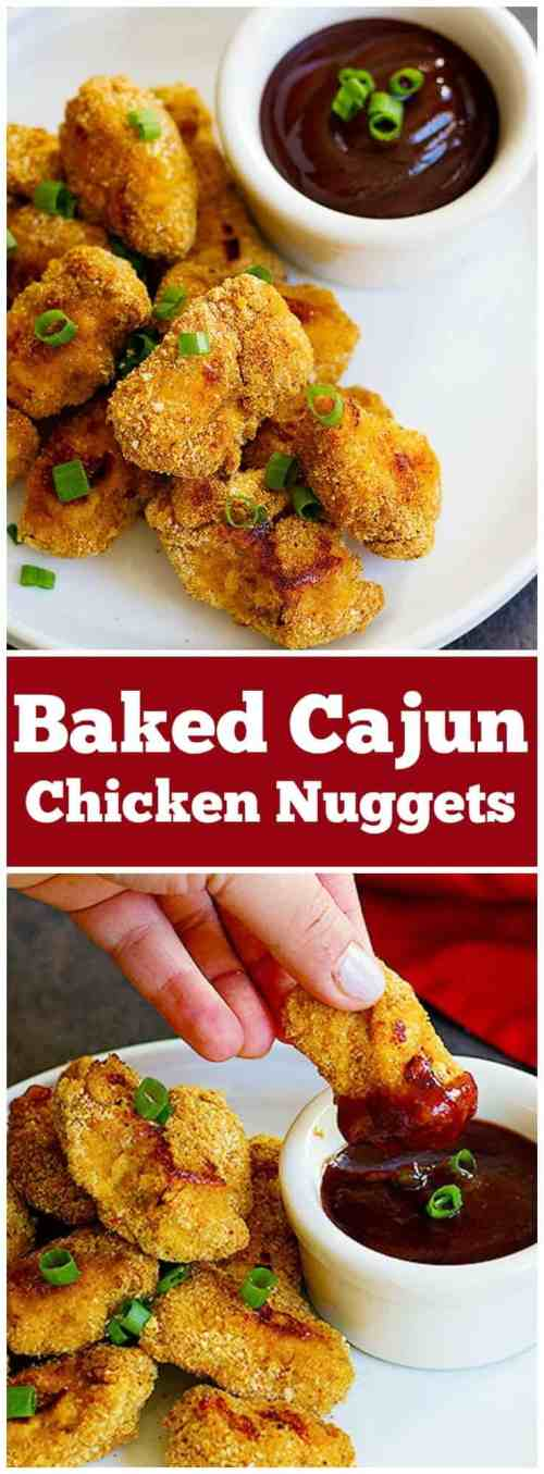 Baked Cajun Chicken Nuggets are perfect for parties or as a light meal. They are perfectly baked in the oven and by using a very simple technique, your fingers won't get all sticky!