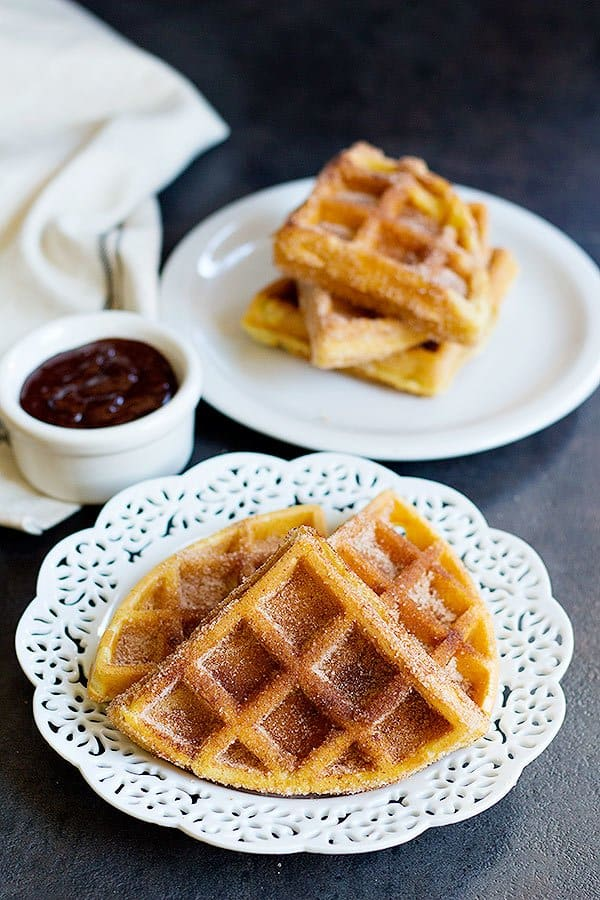 These flavored waffles are fluffy and crisp served with chocolate.