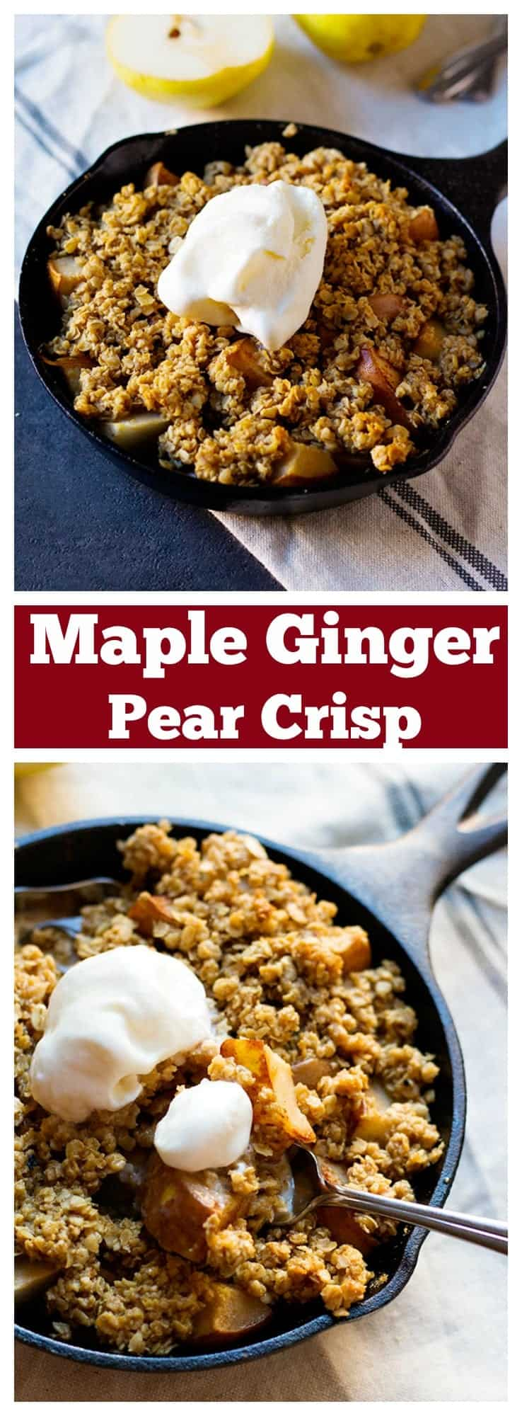 Treat yourself to this easy and delicious maple ginger pear crisp with an amazing combination of flavors. Make it a double win by topping it with a scoop of vanilla ice cream!