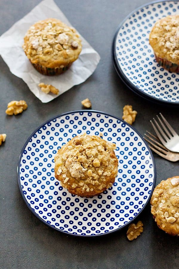 Start you beautiful morning with these Banana Walnut Strudel Muffins. Delicious and delightful muffins packed with cinnamon and banana flavor with extra crunch!