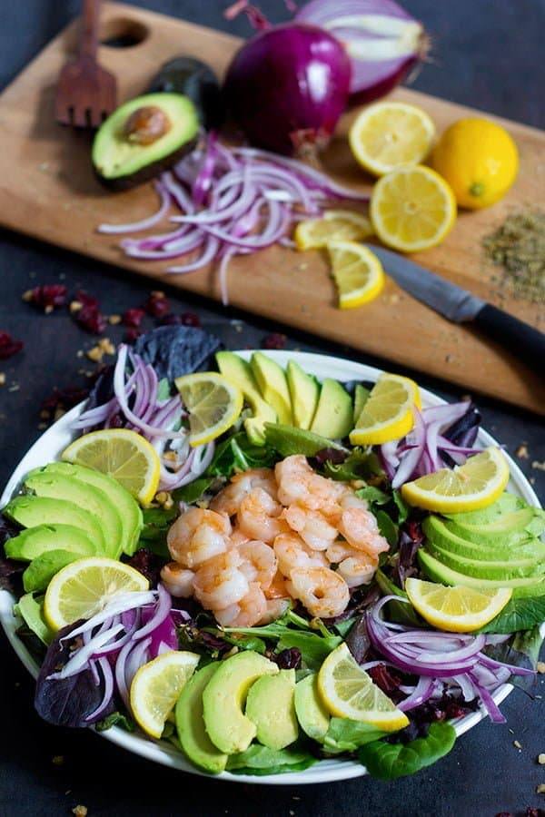 This avocado shrimp salad is best served fresh.
