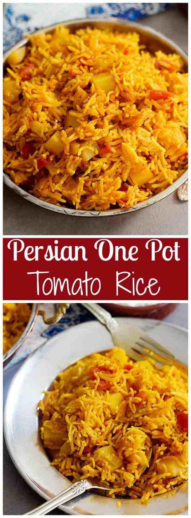 Tomato Rice | Tomato Rice Recipe | Persian Tomato Rice | Tomato Rice Recipe Simple | Tomato Rice Recipe Healthy | Persian Recipes | Mediterranean Recipes | Middle Eastern Recipes | One Pot Tomato Rice | One Pot Rice | One Pot Recipes | UnicornsintheKitchen.com