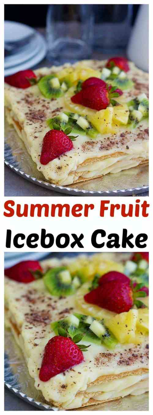 This summer fruit icebox cake is the easiest cake you will ever make. Layers of good old graham crackers and homemade vanilla pudding, topped with summer fruit makes the perfect no-bake cake!
