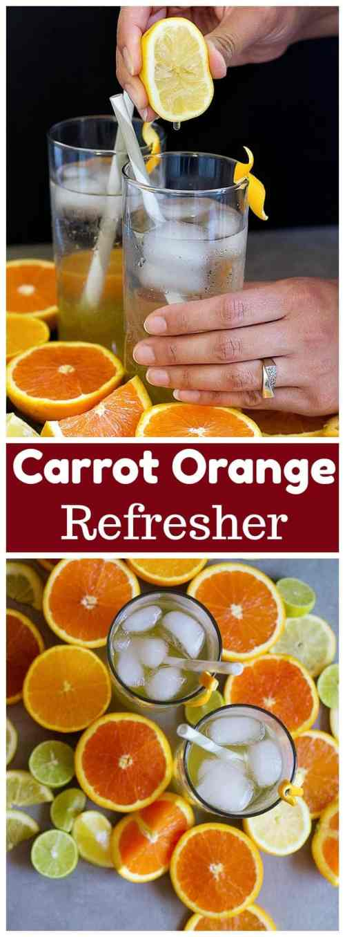 Carrot Orange Refresher is perfect for your warm summer days. Make a batch and enjoy it for a long time with ice and drops of lemon juice!
