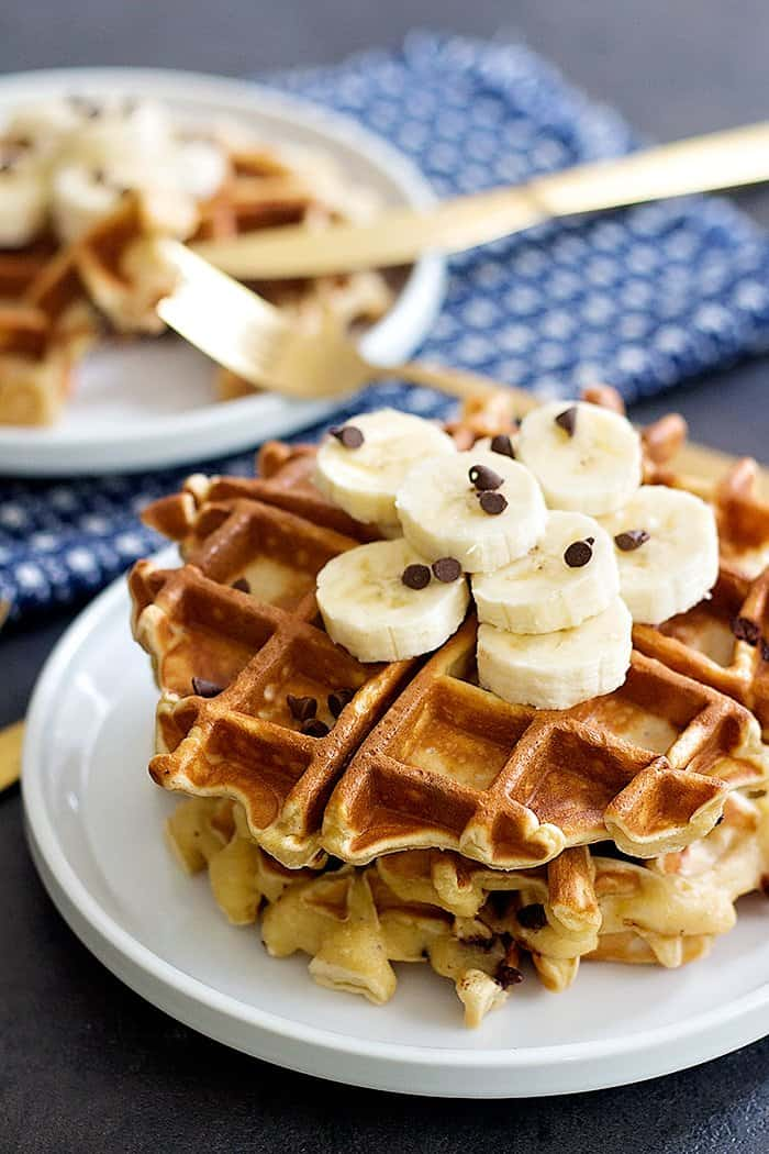 Peanut Butter Chocolate Chip Banana Waffles are great for breakfast or brunch. You can make the batter in a blender in no time and enjoy!