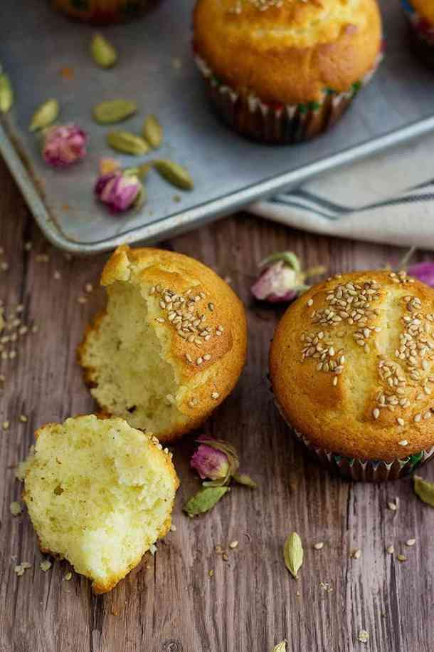Persian Cardamom Muffins - Cake Yazdi is a traditional Iranian/Persian recipe for delicious muffins that are filled with Persian flavors. The combination of rose water and cardamom is always great.