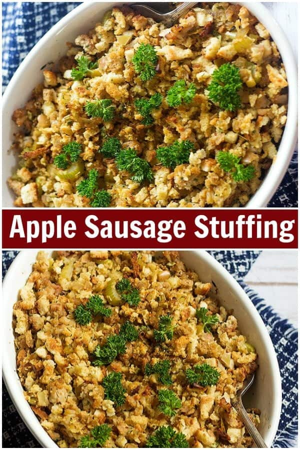 Everyone needs a good apple sausage stuffing recipe that always turns out delicious. This sausage stuffing is the perfect side dish for Thanksgiving. #thanksgiving #stuffing #dressing #Thanksgivingrecipe #applesausage