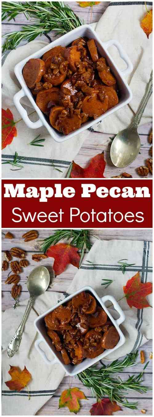 Maple Pecan Sweet Potatoes | maple pecan sweet potatoes mashed | maple pecan sweet potato Casserole | from unicornsinthekitchen.com