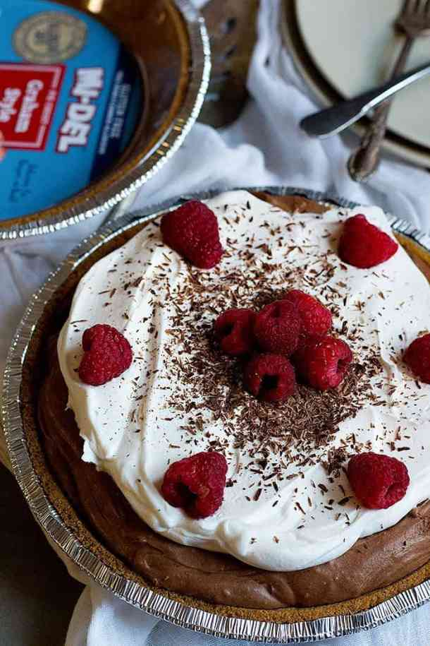Chocolate Cream Pie made with melted chocolate and whipped cream