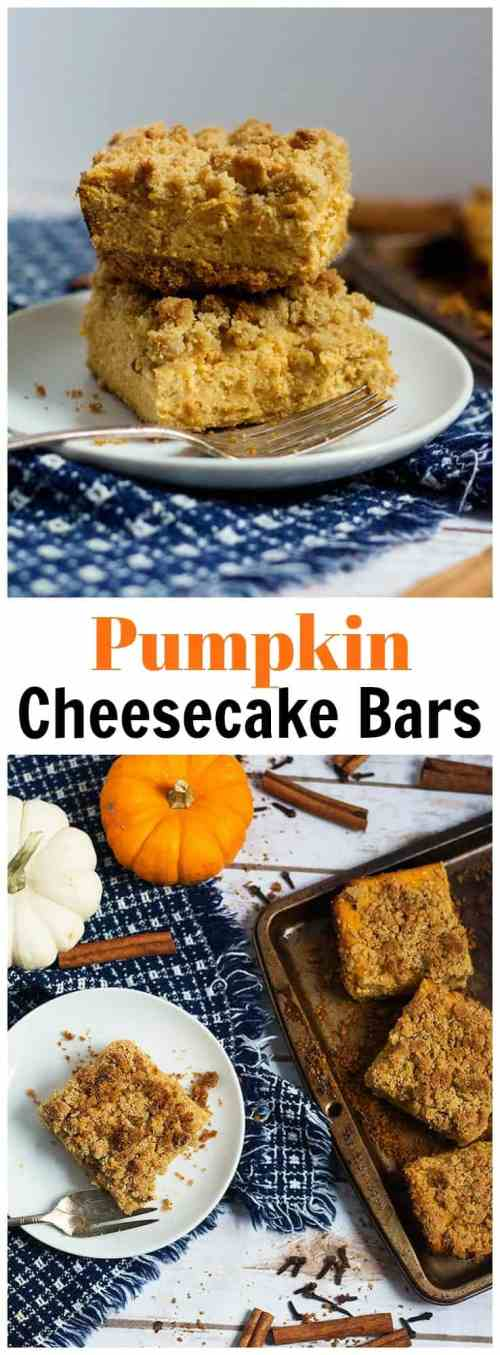 Pumpkin cheesecake bars recipe easy for Thanksgiving and fall - from unicornsinthekitchen.com #pumpkincheesecake
