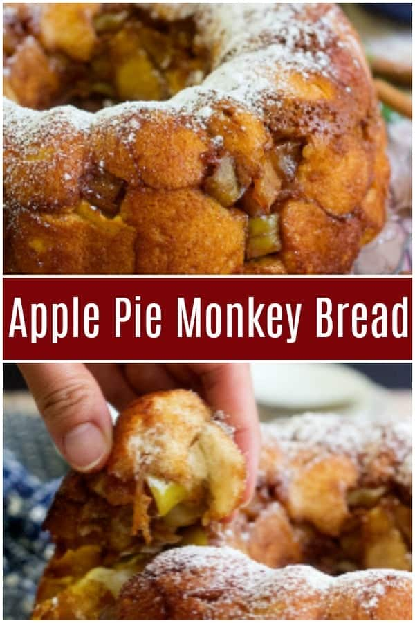 Apple Pie Monkey Bread made from scratch is the perfect family breakfast! The amazing combination of apples and cinnamon makes this ooey gooey bread so delicious!