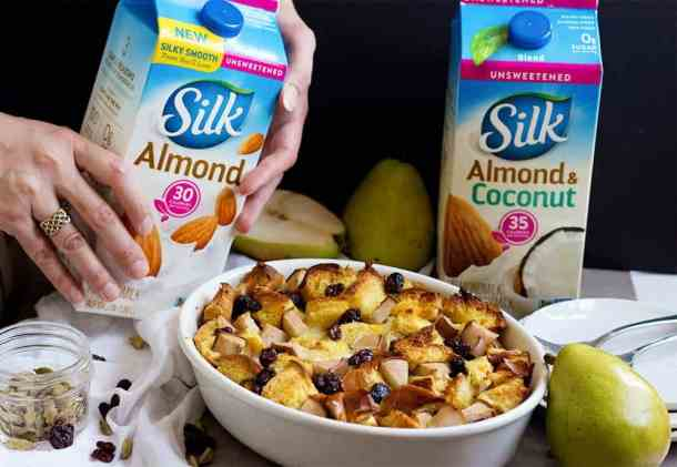 Challah bread pudding - Dairy free bread pudding made with almond milk.