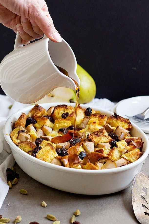Nothing beats a delicious Challah Bread Pudding for breakfast or brunch! Soft Challah bread mixed with pears and raisins with a touch of cardamom brings a feast of flavors to your table!