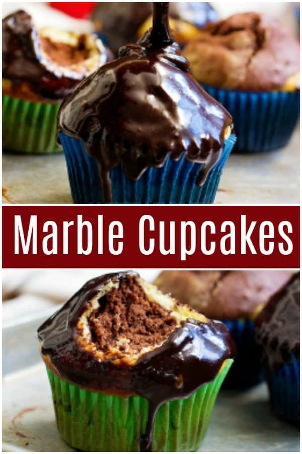 Don't know if you want vanilla or chocolate cupcakes? Marble Cupcakes are an easy choice! Have both vanilla and chocolate flavor in one bite with a silky chocolate glaze!