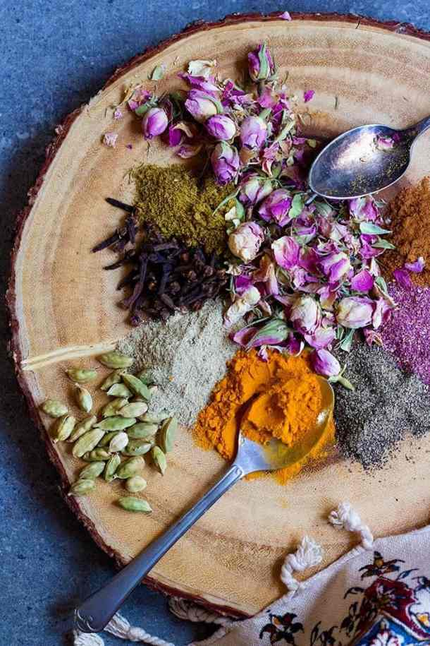 Advieh or Persian spice mix is made of rose petals, cardamom, turmeric and pepper.