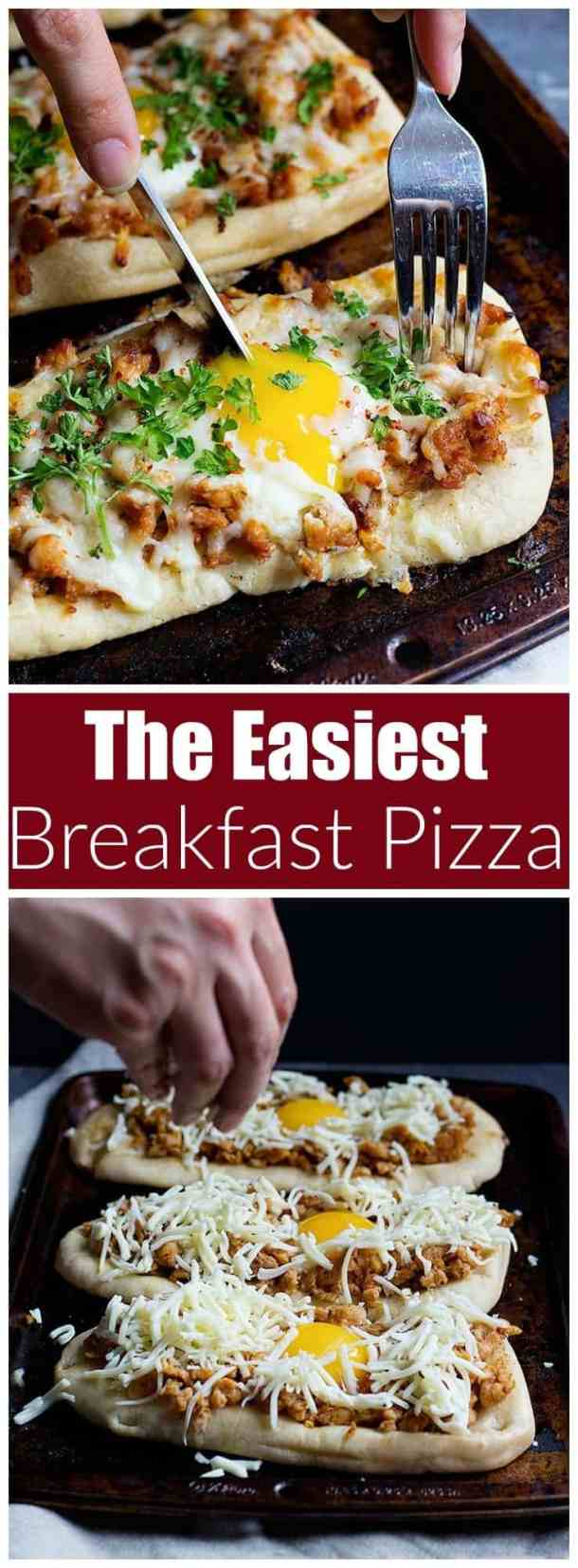 This Breakfast Pizza Recipe is a keeper: it's made with only five ingredients and can be ready in less than 25 minutes. With a golden egg on top, this is the perfect option for brunch, too!