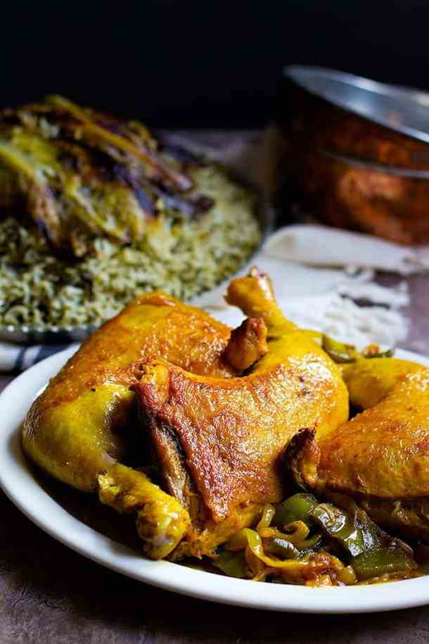 Golden Persian Chicken with Saffron served with Dill Rice.