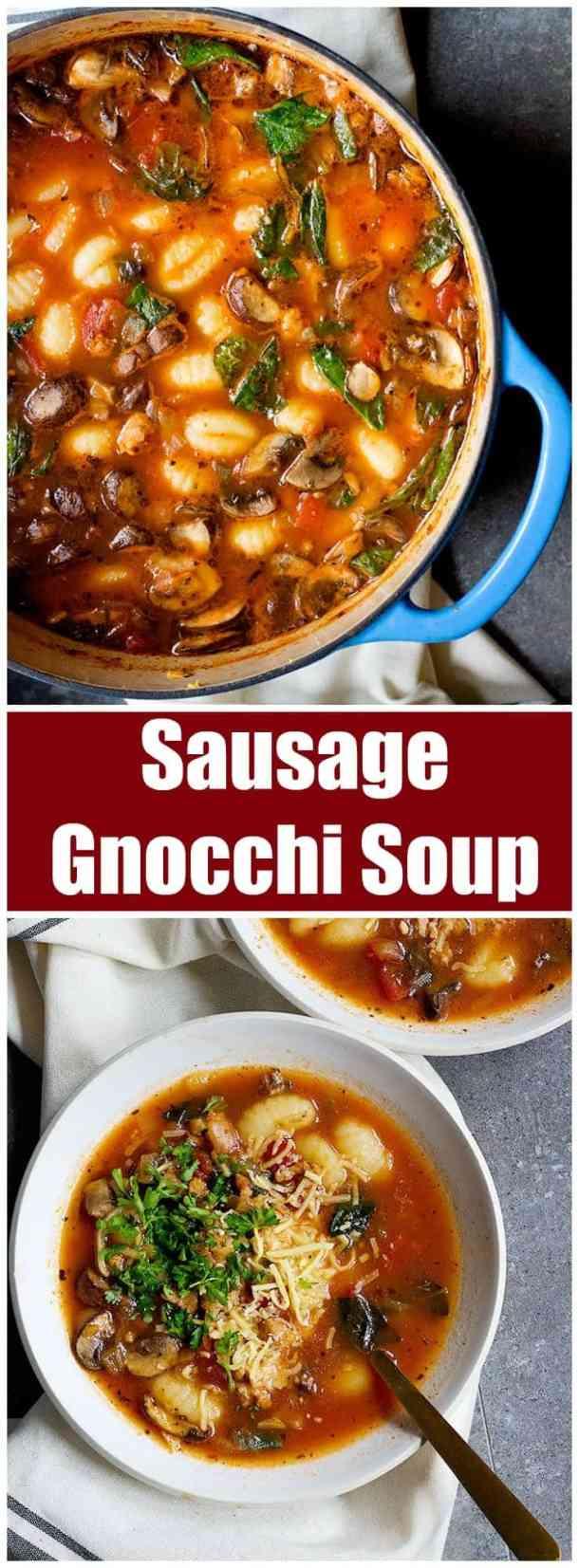 Sausage Gnocchi Soup | Soup Recipe | Gnocchi Soup Recipe | Italian Soup Recipe | Pasta Soup Recipe | Sausage Soup Recipe | Sausage and Vegetable Soup | Comfort Food | Easy Soup Recipe | Unicornsinthekitchen.com