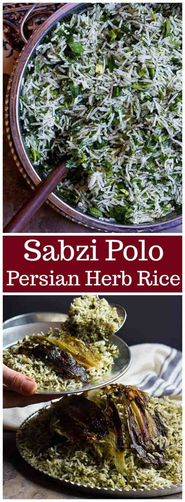 Sabzi Polo | Sabzi Polo Recipe | Herb Rice Recipe | Herb Rice | Persian Rice Recipe | Persian Recipes | Middle Eastern Recipes | Vegan Recipes | Vegetarian Recipes | Side Dishes | Gluten Free Recipes | Persian Food | Nowruz | Persian New Year | Unicornsinthekitchen.com