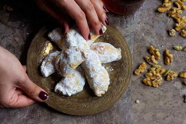 Serve walnut pastry with warm black tea. These pastries are delicious and flaky.