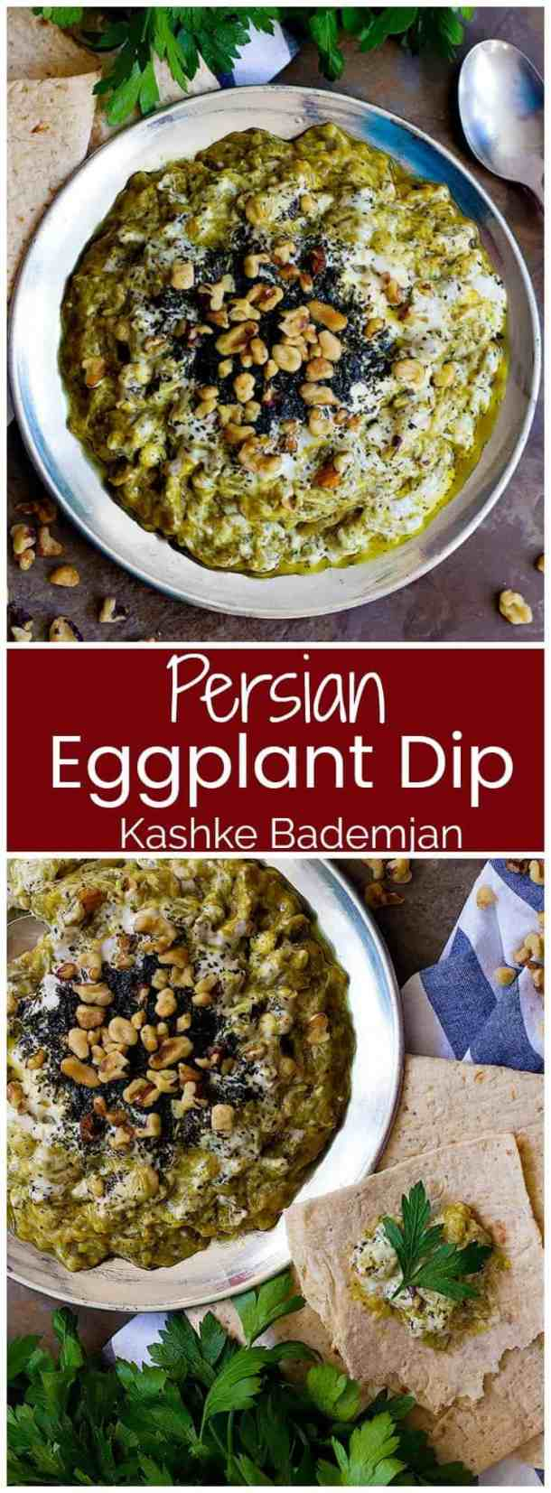 Kashke Bademjan is a simple Persian eggplant dip that is made with a handful of ingredients. This tasty vegetarian dip is full of amazing flavors and is the perfect appetizer for any table!