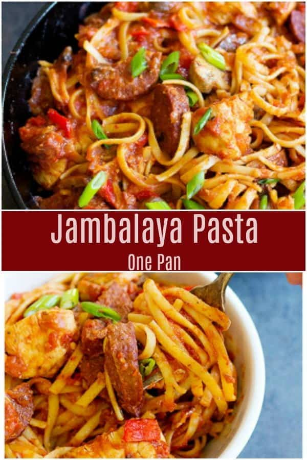 Have a warm bowl of One Pan Jambalaya Pasta any day of the year - this dish is full of flavors and takes less than an hour to come together. It's the perfect comfort food for a family weeknight dinner.