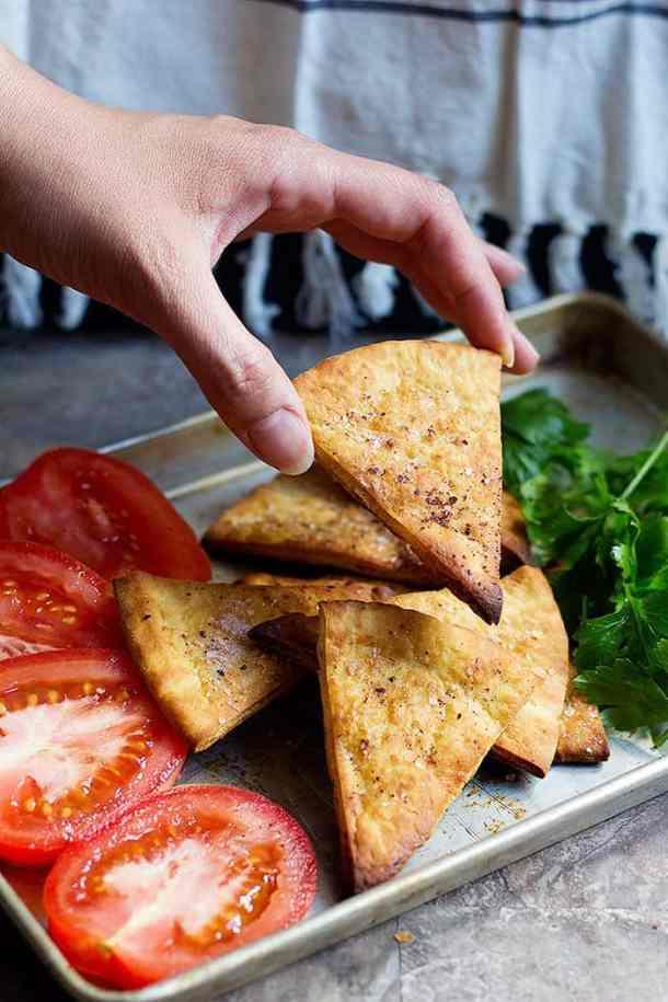 Serve pita chips with hummus or yogurt dips.
