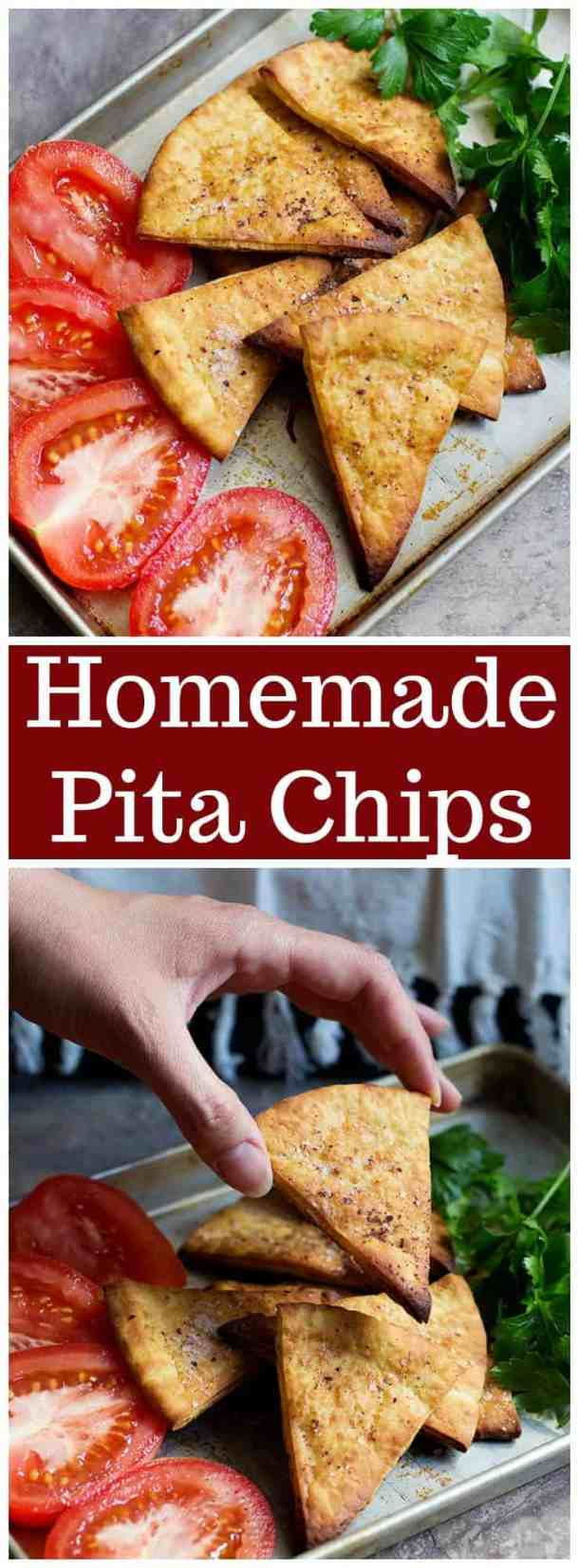 Pita Chips | Pita Chips Recipe | How to make pita chips |  Baked Pita chips | Healthy Snacks | Easy Snacks | Hummus and pita chips | Mediterranean Recipes | Homemade Pita Chips | UnicornsintheKitchen.com