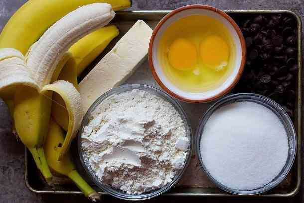 To make choc chip banana bread you need bananas, flour, sugar, eggs, and butter.