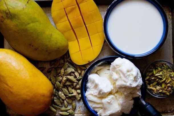 to make mango shake you need mangoes, ice cream, milks and cardamom