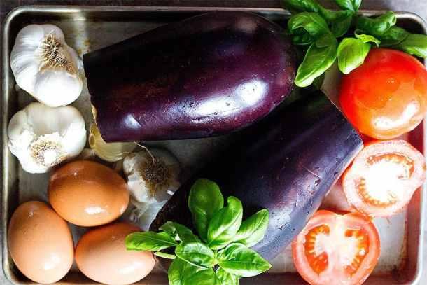 To make mirza ghasemi you need eggplants, garlic, tomatoes and eggs.