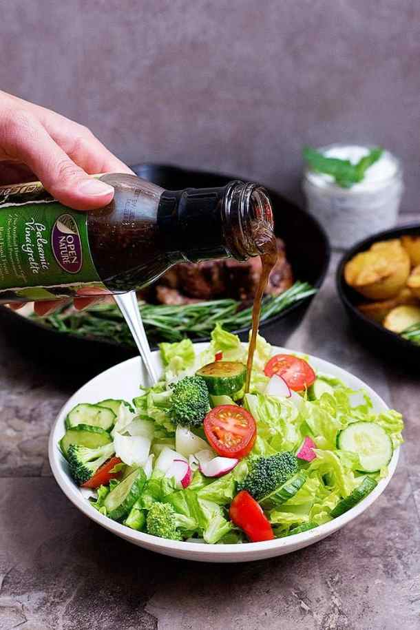 a seasonal salad to serve with seared lamb loin chops.