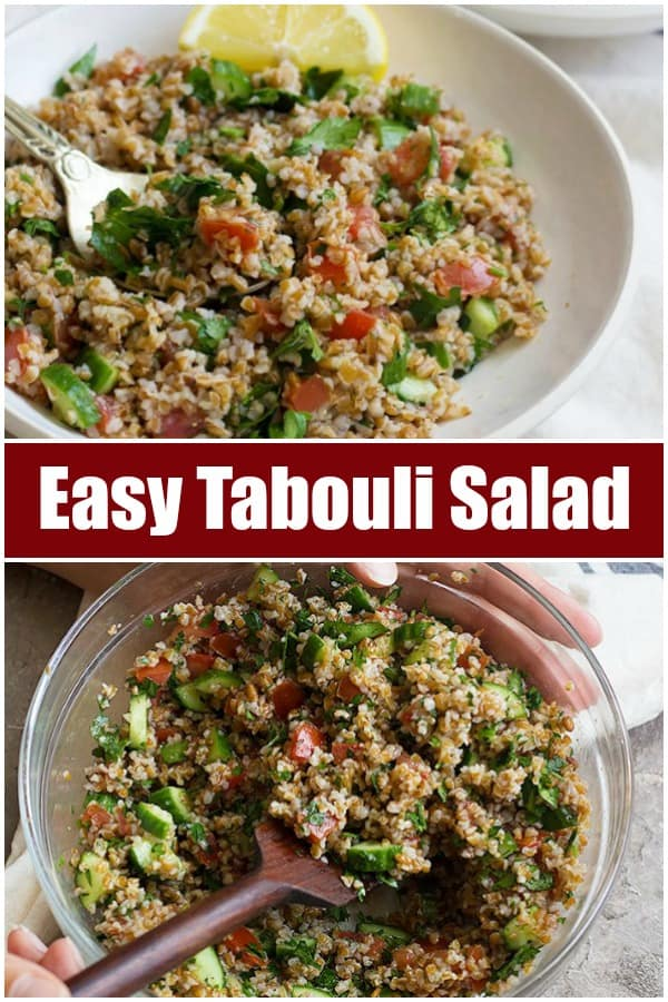 Easy tabouli salad recipe. Tabbouleh is a middle eastern salad made with bulgur and herbs.