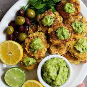 Shrimp Cakes with Zesty Avocado Dipping Sauce