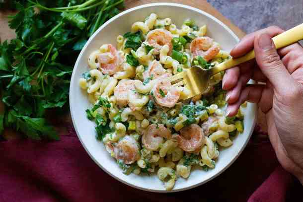 Serve cold shrimp pasta salad after chilling in the fridge for one hour.